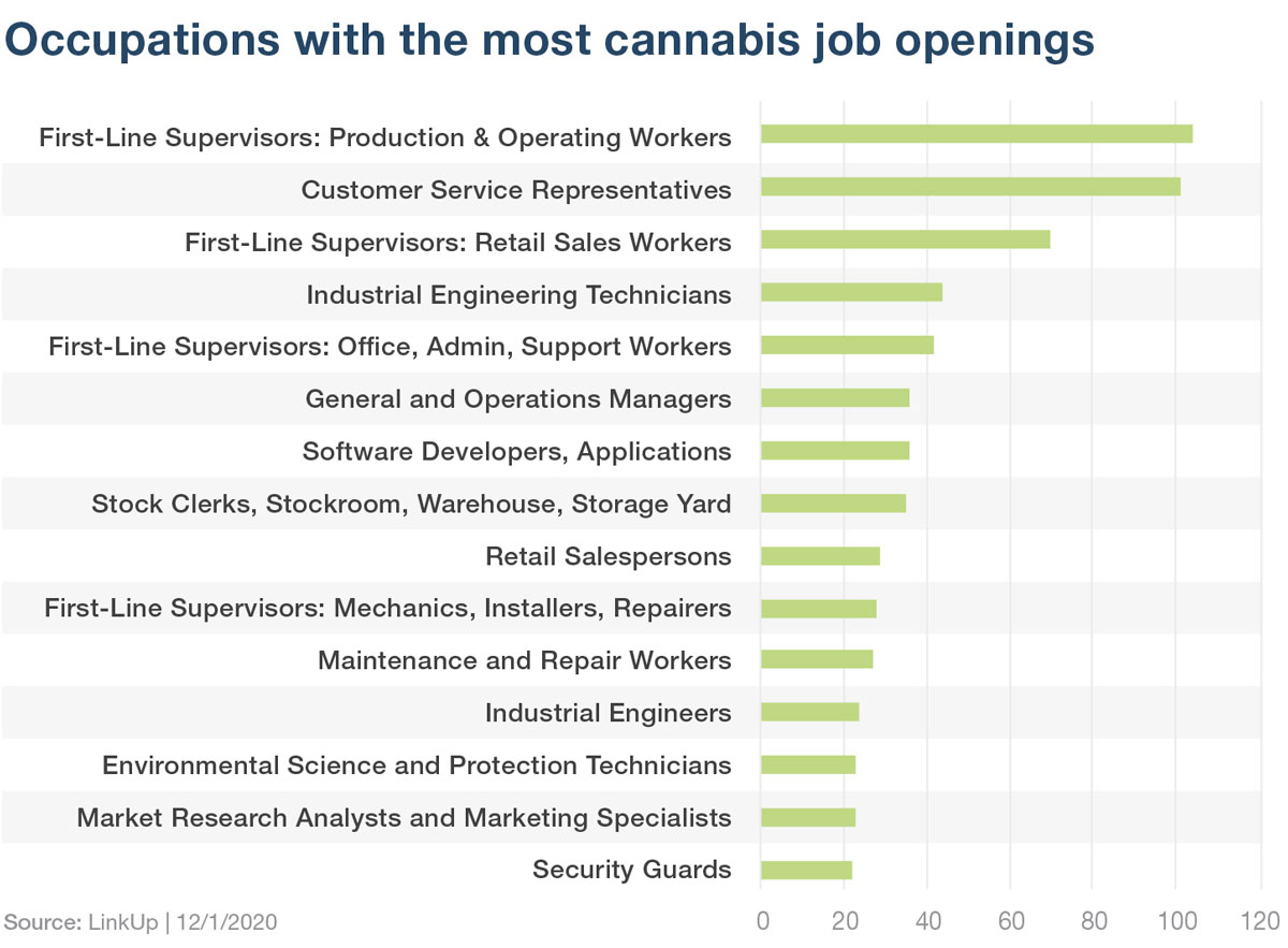 Cannabis jobs by occupation