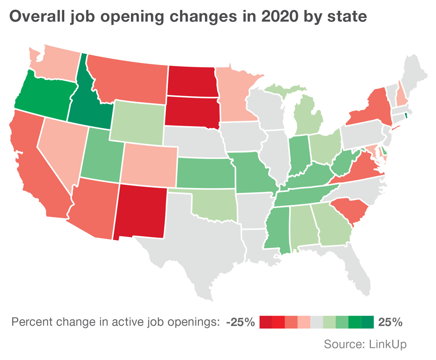Map: Overall job changes in 2020 by state