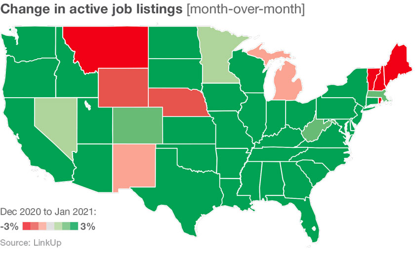 Change in job listings by state
